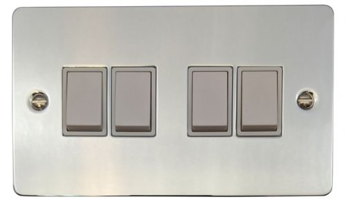 G&H FC4W Flat Plate Polished Chrome 4 Gang 1 or 2 Way Rocker Light Switch